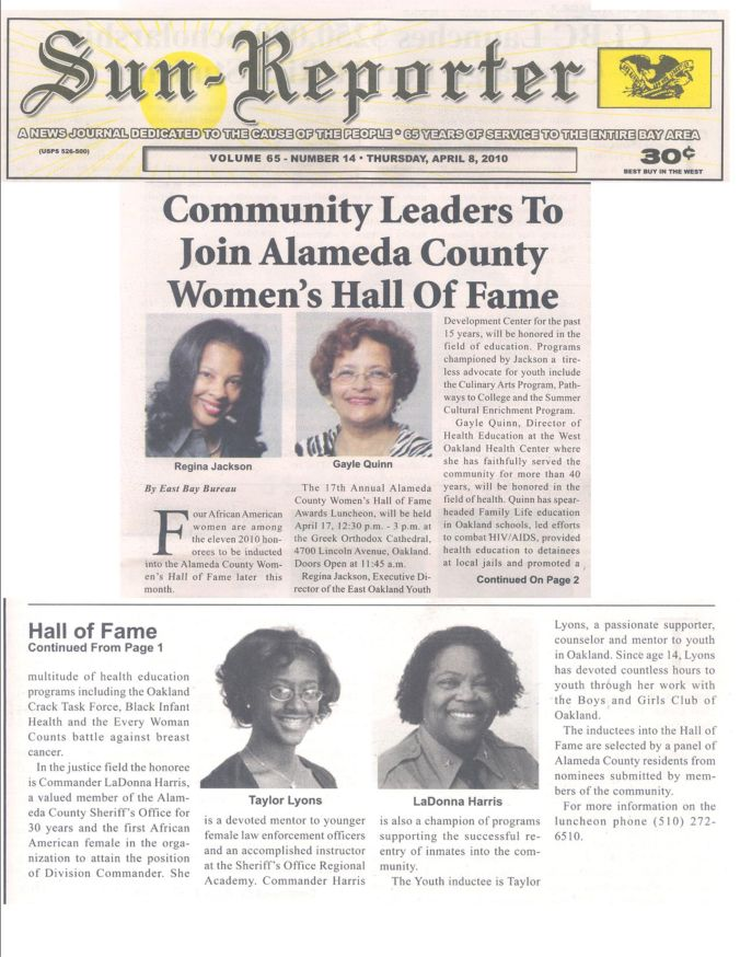 Community Leaders to Join Alameda County Women's Hall of Fame