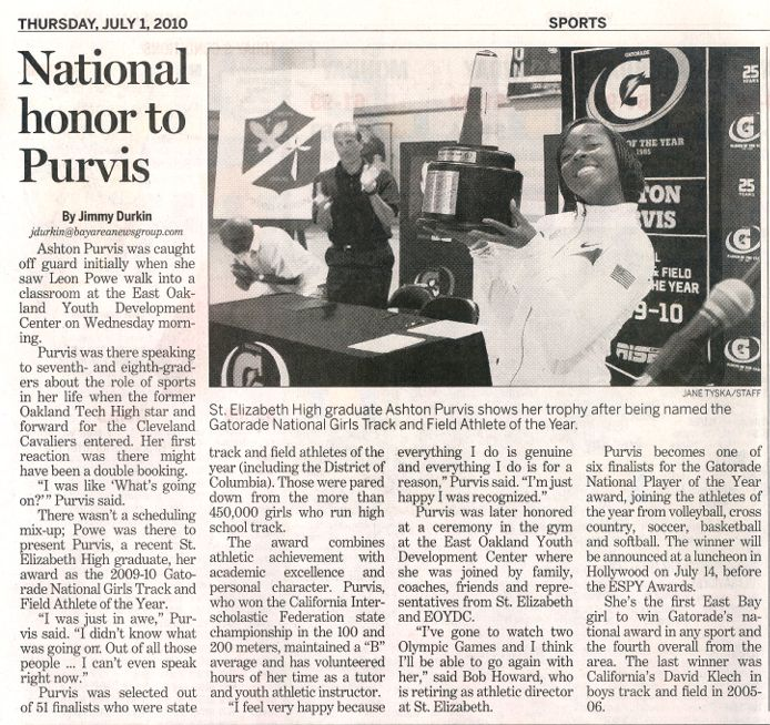 National Honor to Purvis