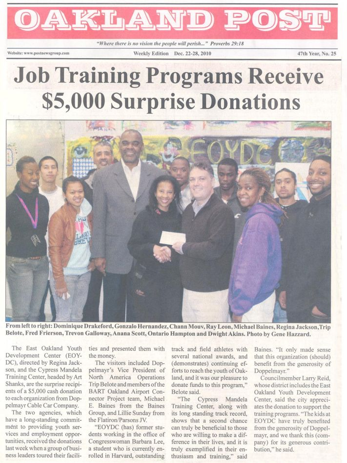 Job Training Program Receives Donation