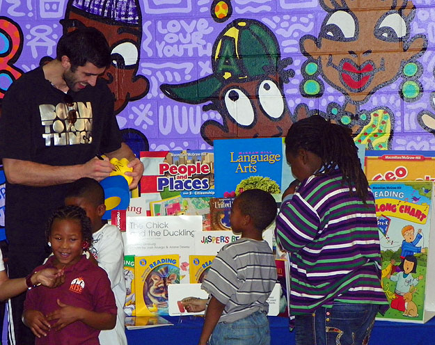 Radmanovic with Kids and books